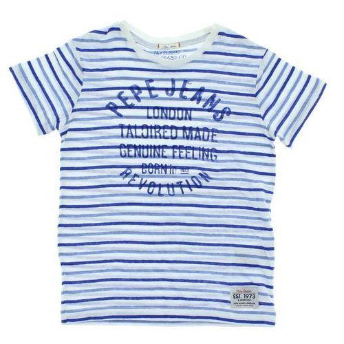 Pepe Jeans T-shirt dziecięcy Niebieski Biały 8 lat, kolor niebieski