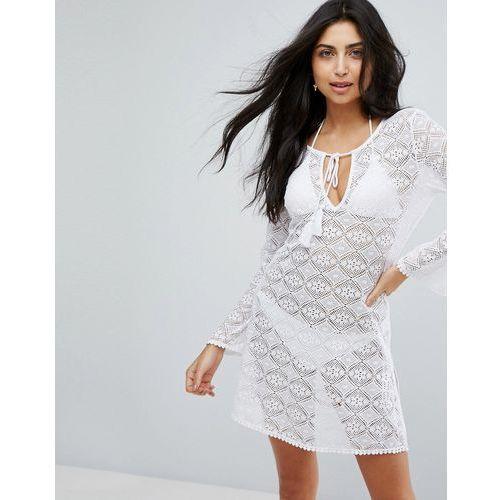Dorina White Crochet Beach Cover Up - White