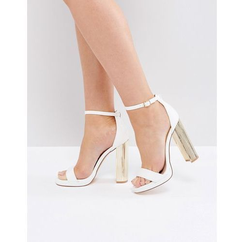 metallic mirror block heel barely there sandals - white marki River island