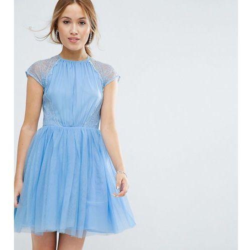 ASOS PETITE PREMIUM Lace Tulle Mini Prom Dress - Blue, kolor niebieski