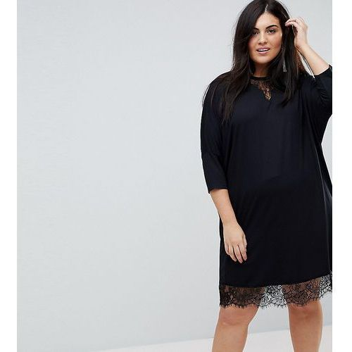 ASOS CURVE Oversize T-Shirt Dress with Batwing Sleeve and Lace Inserts - Black