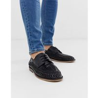 River island lace up woven loafers in black - black
