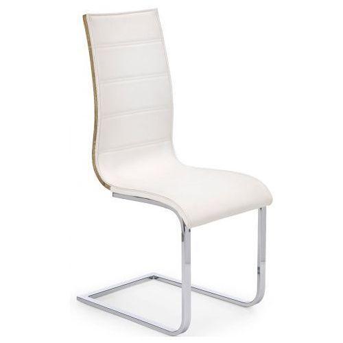 Krzesło metalowe Baster - białe + dąb sonoma, kolor biały