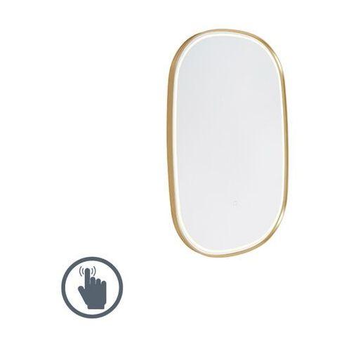 Qazqa Owalne lustro łazienkowe w kolorze złotym z led ze ściemniaczem dotykowym - miral