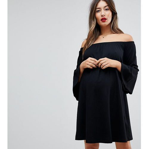 ASOS Maternity Off Shoulder Mini Dress with Trumpet Sleeve - Black, kolor czarny