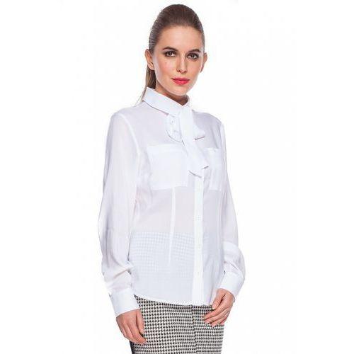Duet woman Biała koszula z wiązaną kokardą -