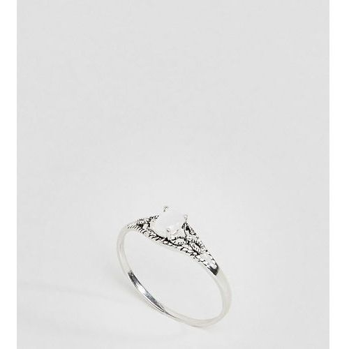 Asos curve Asos design curve sterling silver faux moonstone ornate engraved ring - silver