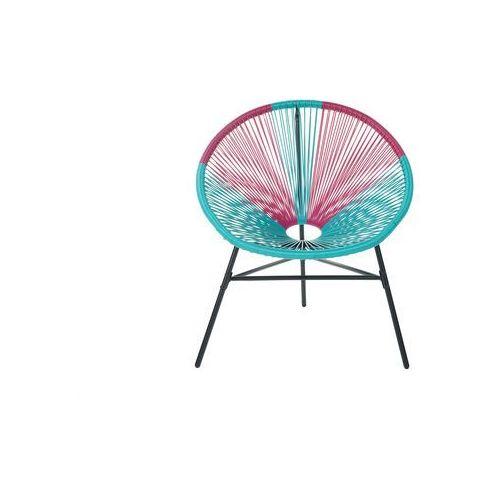 Beliani Zestaw 2 krzeseł rattanowych różowo-turkusowe acapulco (4260624113685)