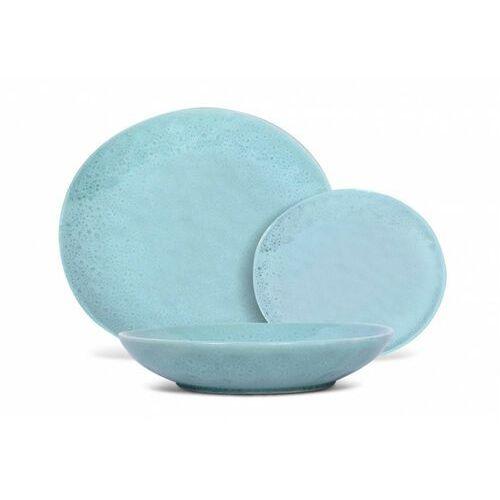 Sia Serwis obiadowy z młotkowanego fajansu olga - 12-częściowy - kolor jasnoniebieski