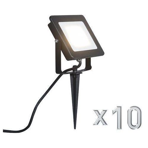 Led naswietlacz Radius 3 10W czarny z klinem ziemnym zestaw 10 sztuk