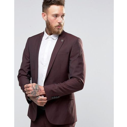 skinny fit wool blend suit jacket in burgundy - red marki River island