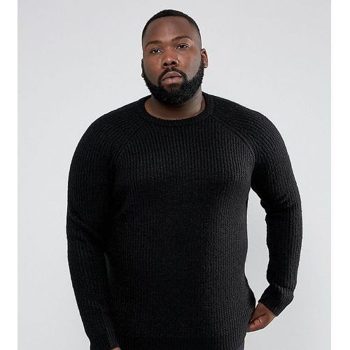 plus chunky ribbed crew neck jumper - black marki D-struct