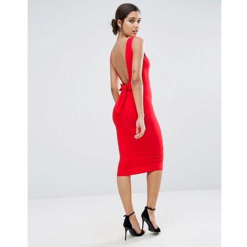 ASOS Bow Back Midi Bodycon Pencil Dress - Red