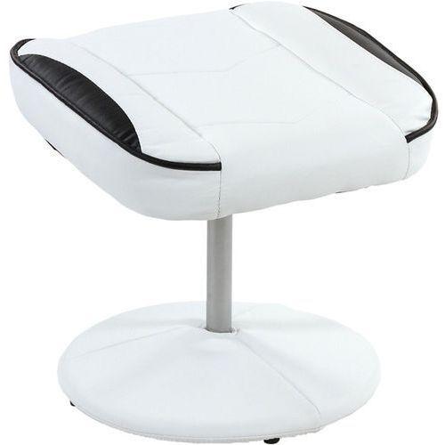 Mks Biało czarny fotel wypoczynkowy obrotowy dla gracza przed tv - biało - czarny