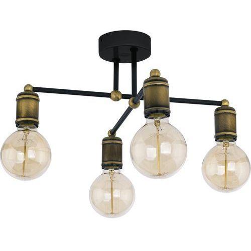Lampa wisząca zwis oprawa edison tk lighting retro 4x60w e27 czarna/złota 1904 marki Tklighting