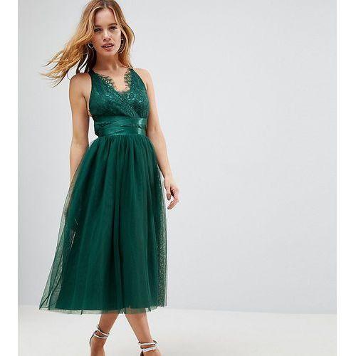 ASOS PETITE PREMIUM Lace Top Tulle Midi Prom Dress with Ribbon Ties - Green, kolor zielony