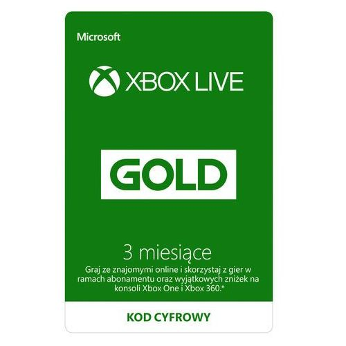 Kod aktywacyjny MICROSOFT Xbox Live Gold 3 miesiące (2907586314782)