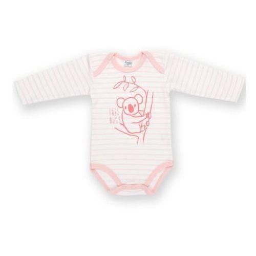 Body długi rękaw happy kids rozmiar 68 różowe paski marki Pinokio