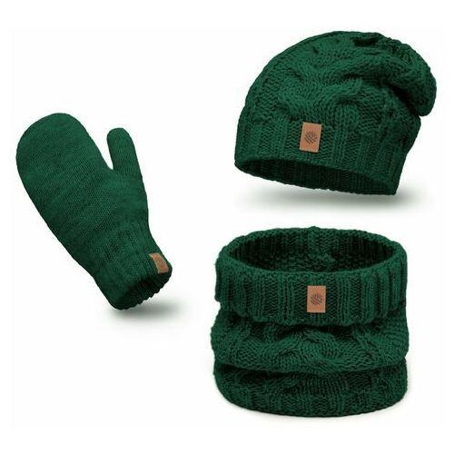 Pamami Ciepły komplet , czapka, komin i rękawiczki - butelkowa zieleń