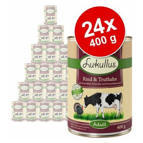 Megapakiet Lukullus Natural, 24 x 400 g - Wołowina i indyk (4260077048114)