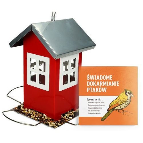 Metalowy karmnik domek dla ptaków wieszany. czerwone karmidło dla ptaków. marki Trixie