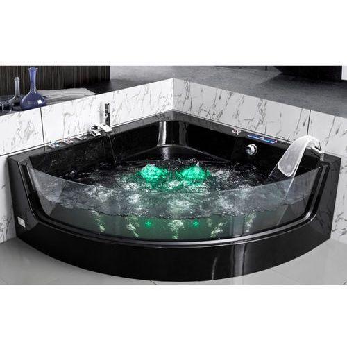 Vente-unique Narożna przeszklona wanna z hydromasażem ethra - 1-osobowa - 150 x 150 x wys.57 cm - kolor: czarny