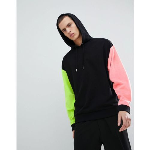 ASOS DESIGN oversized hoodie with velour sleeves and back print in black - Black