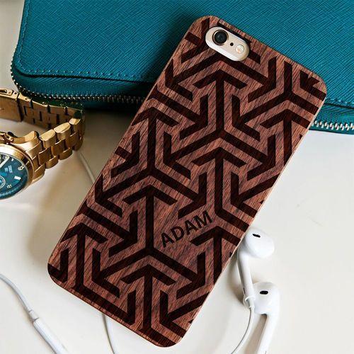 Geometryczna - Drewniana Obudowa - Orzech - iPhone 5/5s/SE - produkt z kategorii- Obudowy do telefonów