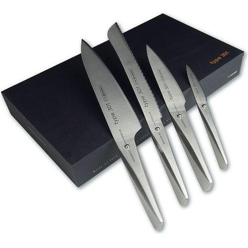 Nóż kucharza 20 cm, nóż kucharza 14,2 cm, nóż do pieczywa i do obierania type 301 w zestawie marki Chroma
