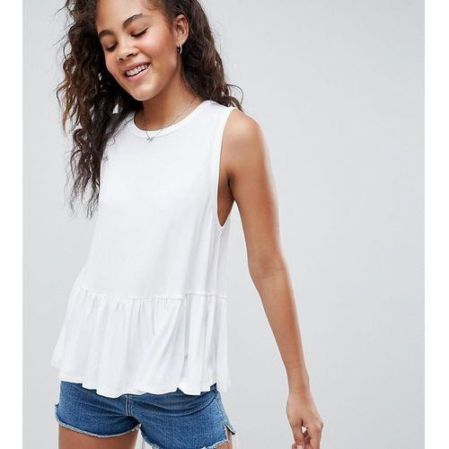 Asos tall Asos design tall sleeveless swing top with dropped armhole and pephem - white