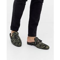 River island gold embroidered backless loafers in black - black