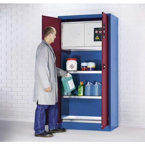 Asecos Szafa ekologiczna, z bezpiecznym pojemnikiem, 2 półki wannowe, 1 wanna wychwytow