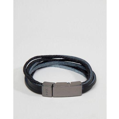 black leather bracelet - black marki Icon brand