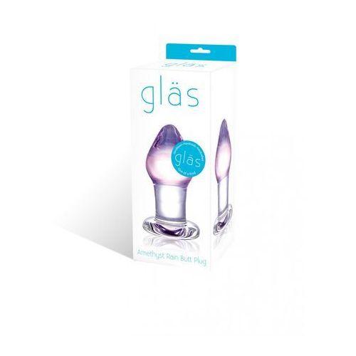 Glas Szklany plug analny korek analny - amethyst rain glass butt plug