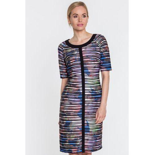 Czarna sukienka w tłoczone paski - Vito Vergelis, 1 rozmiar