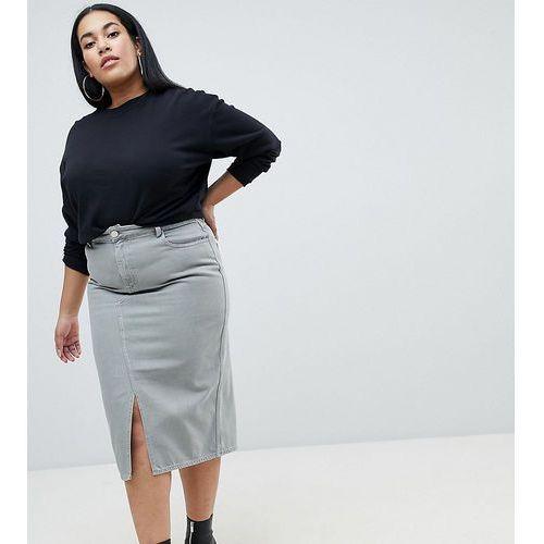 Asos curve Asos design curve denim midi skirt in khaki - green