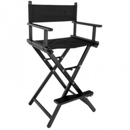Krzesło Do Makijażu Glamour Aluminiowe Czarne Z Czarnym Materiałem, 41639
