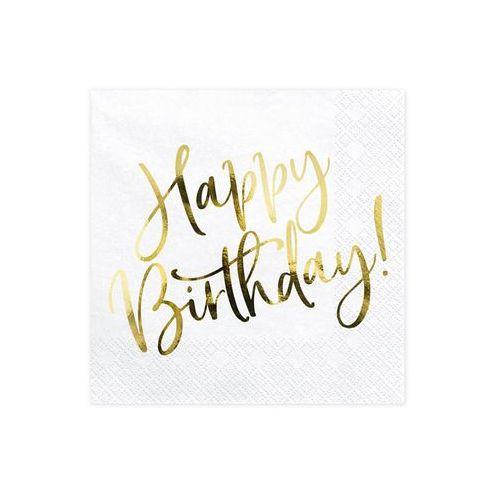 Serwetki Happy Birthday białe - 33 cm - 20 szt.