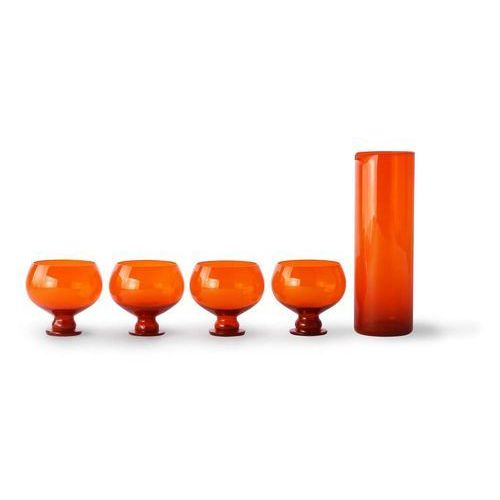 Hk living zestaw karafka+4 szklanki w kolorze pomarańczowym agl4460 (8718921035118)