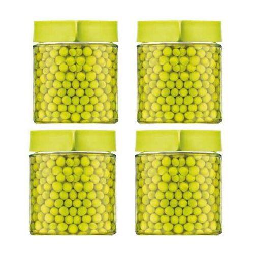 Zestaw czterech pojemników szklanych 400ml - Glasslock (Kolor: Zielony) - produkt z kategorii- Pozostałe dom i ogród