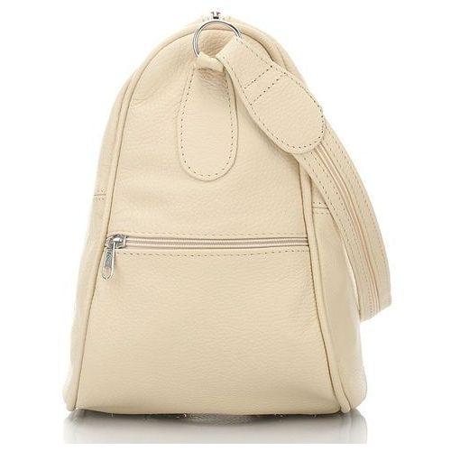Skórzany plecaczek i torebka damska 2 w 1 kolor écru - écru