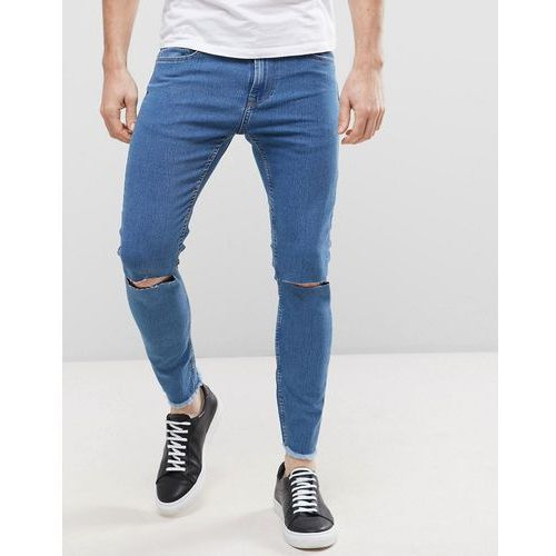 Only & Sons Jeans in Skinny Fit with Rip Knee and Cropped Raw Hem - Blue, jeansy