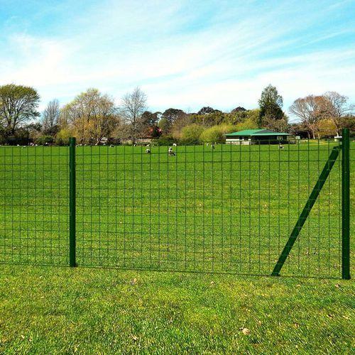 euro ogrodzenie z kotwami do ziemi, 25x0,8 m, zielone, stalowe marki Vidaxl