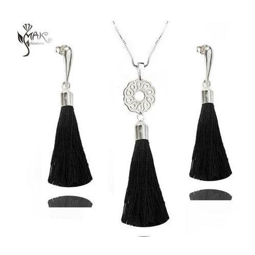 Mak-biżuteria Kol847 komplet chwosty frędzle czarne srebro 925