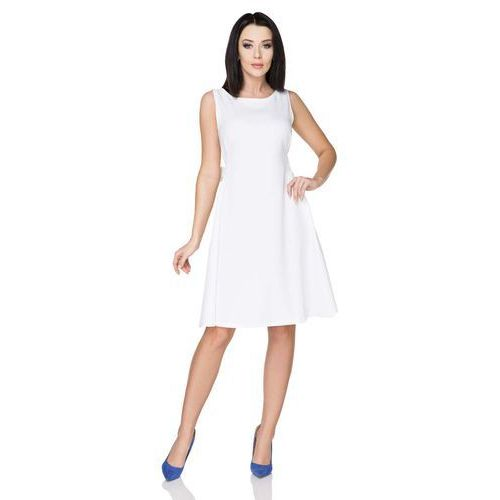 Biała letnia rozkloszowana sukienka z wiązaną szarfą marki Tessita