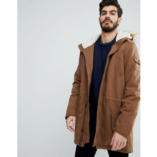 hooded jacket with borg lining - brown marki Le breve