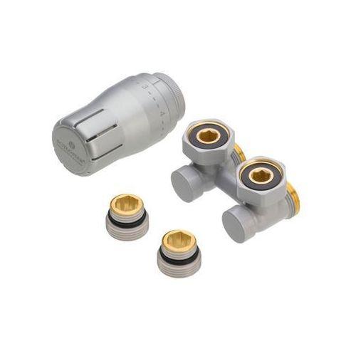 """Zestaw termostatyczny KĄTOWY 3/4"""" RAL9006 SCHLOSSER (5900949301761)"""