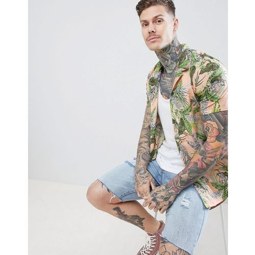 boohooMAN Revere Shirt With Tropical Leaf Print In Peach - Pink, kolor różowy