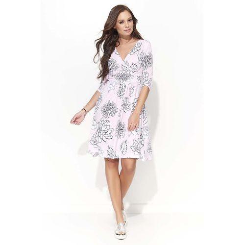 Wizytowa Sukienka w Kwiatowy Wzór z Kopertowym Dekoltem - Wzór 4, DF43pi/wz4