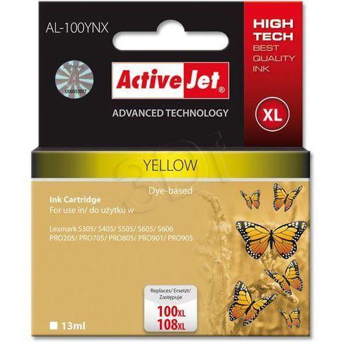 Activejet Tusz al-100y yellow do drukarek lexmark (zamiennik lexmark 100xl yellow)